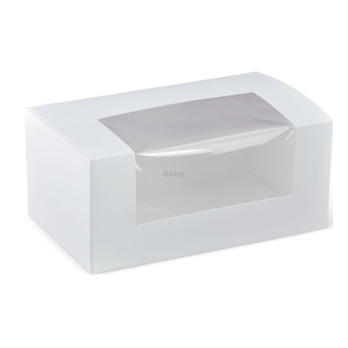 """Cake Box with Window - 7"""" Long Patisserie Box (2 Cup Cake Box) - K621S0001"""