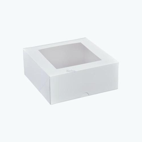 "Cake Box with Window - 7"" Square Patisserie Box - Q093S0001"