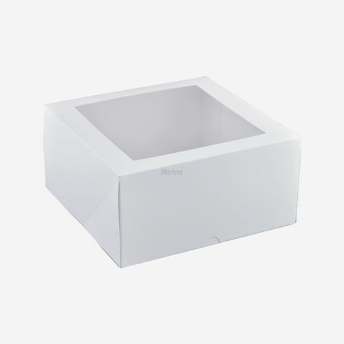 "Cake Box with Window - 9"" Square (Deep) Patisserie Box - Q404S0001"