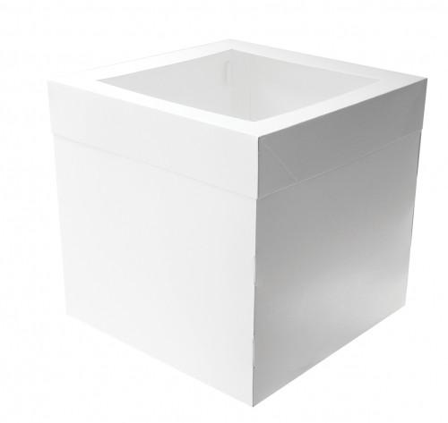 """Cake Box with Window - 10"""" Square White Premium Milk Board 10x10x12"""""""