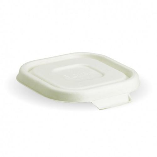 LID (BioCane) - BIOPAK - Square WHITE - [B-SLBL-W] / to suit Square Takeaway Bases 280ml - 630ml
