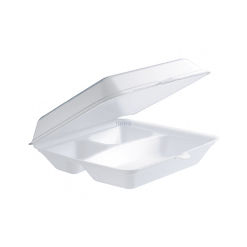 Foam Container / Hinged Lid - 3 Cavity Dinner Tray