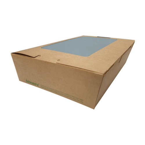 Lunch Box (Brown Kraft) with Window - LARGE (1900ml) - 195x140x65mm