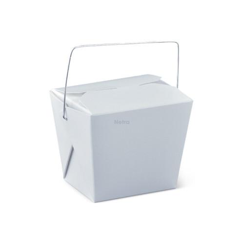 Noodle Box Square - White 8oz (240ml) - WIRE HANDLE