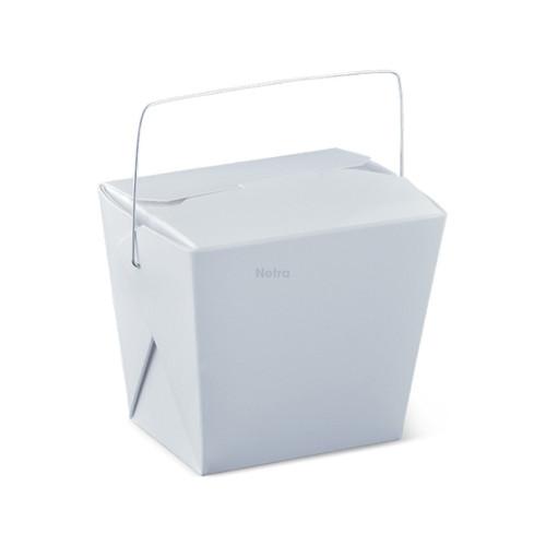 Noodle Box Square - White 16oz (477ml) - WIRE HANDLE
