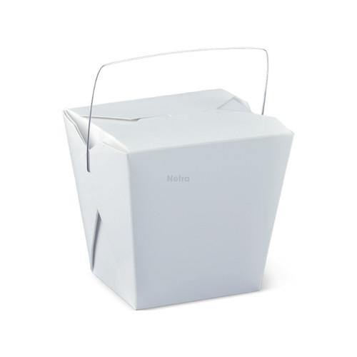 Noodle Box Square - White 26oz (755ml) - WIRE HANDLE