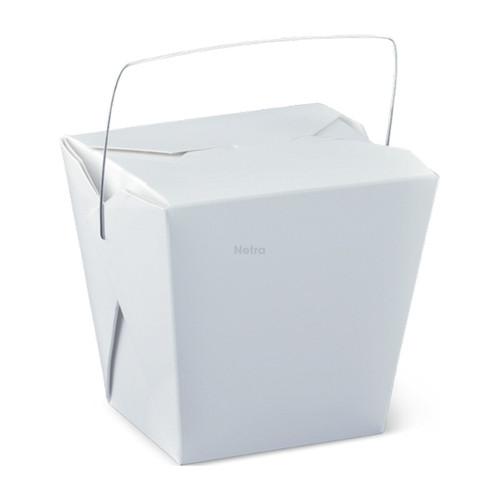 Noodle Box Square - White 32oz (954ml) - WIRE HANDLE