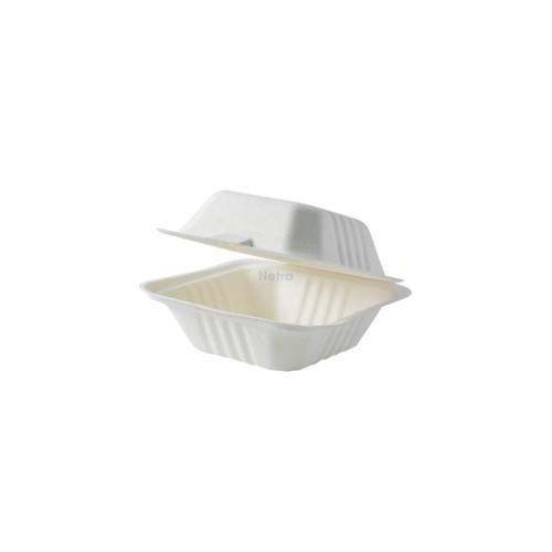 "Clamshell (Sugarcane) 6"" Burger Box WHITE - Large [SW-06]"