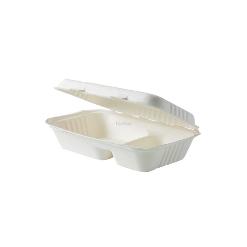 """Clamshell (Sugarcane) - 9"""" x 6"""" - 2 Compartment [P-SH02-2] - (Compostable)"""