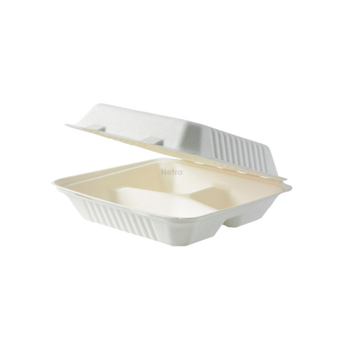 """Clamshell (Sugarcane) 8"""" - 3 Compartment [SW-08-3]"""