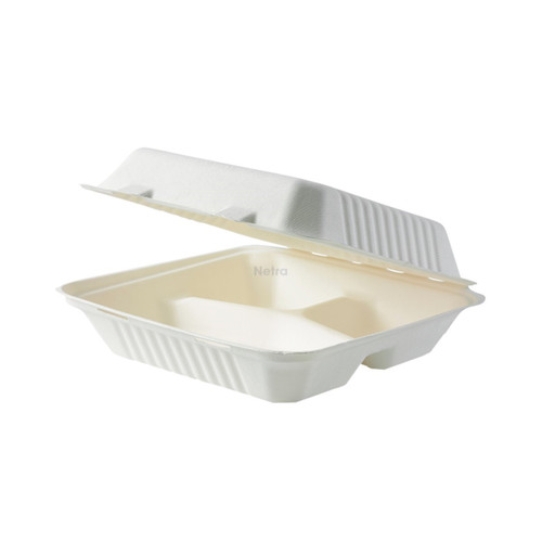 """Clamshell (Sugarcane) - 9"""" - 3 Compartment [SW-09-3]"""