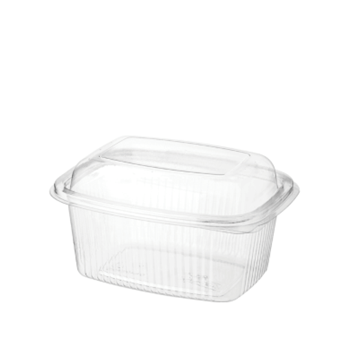 BETTASEAL (PET) - 500ml Clear Rectangular Container / Hinged Dome Lid
