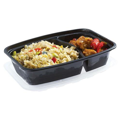 Bento Box - Rectangular (PP) - 750ml - 2 Compartment - Combo Set - Black Base with Clear Lid