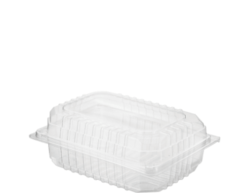 CASTAWAY Eco-Smart (PET) - Sushi/Salad Pack - SMALL Clear with Hinged Lid - 152x106x60mm