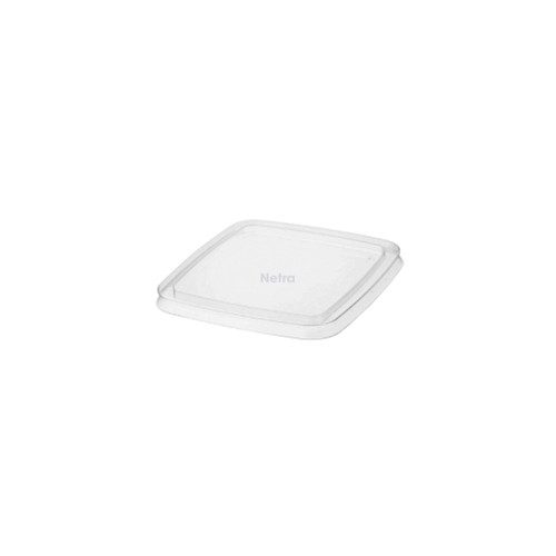 LID FLAT (PET) - CASTAWAY - 73mm Clear [CA-CSLID] suits ALL REVEAL Square PET Containers