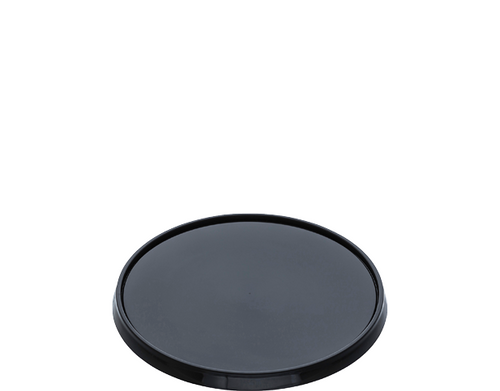 LID FLAT (PP) - CASTAWAY LOCKSAFE - 118mm BLACK / suits 300ml - 1120ml LARGE Round Tamper Evident Containers