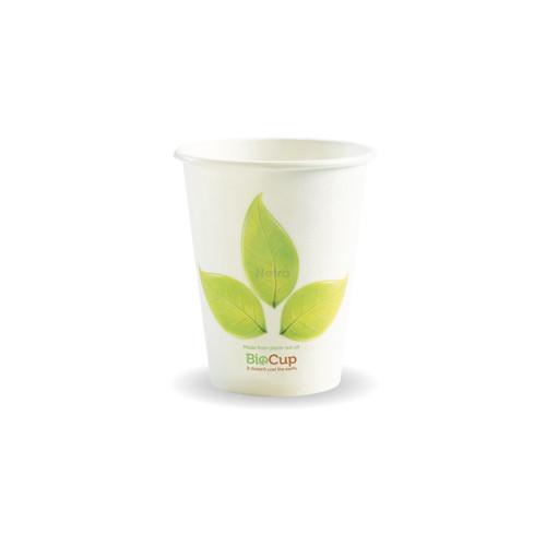 Coffee Cup (PLA) - BIOPAK - SINGLE Wall - 8oz WHITE with Leaf [BC-8]