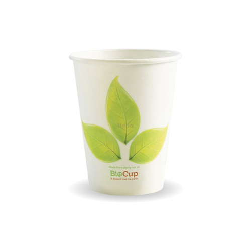 Coffee Cup (PLA) - BIOPAK - SINGLE Wall - 12oz WHITE with Leaf [BC-12]