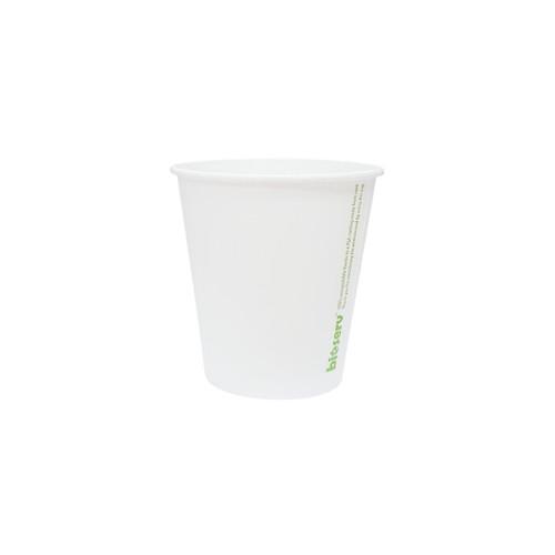 Coffee Cup (Compostable PLA) - SINGLE Wall - 6oz WHITE - BIOSERV