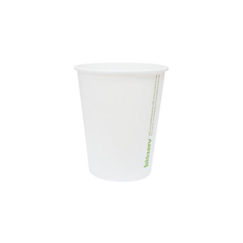 Coffee Cup (PLA) - SINGLE Wall - 8oz WHITE - BIOSERV