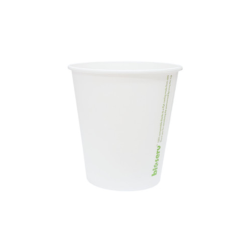 Coffee Cup (PLA) - SINGLE Wall - 8oz (SQUAT) WHITE - BIOSERV