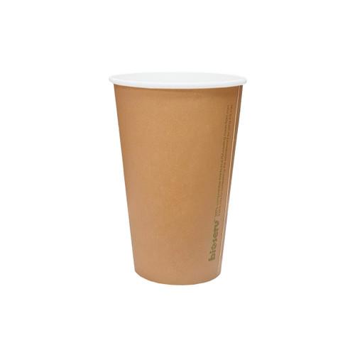 Coffee Cup (PLA) - SINGLE Wall - 12oz (SLIM) - BROWN KRAFT - BIOSERV