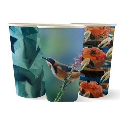 Coffee Cup (PLA) - SINGLE Wall - 12oz (SLIM) - ART [BC-12(80)-ART SERIES] - BIOPAK
