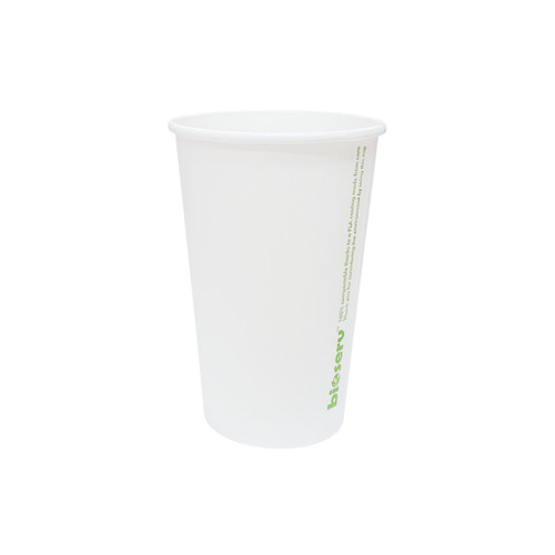 Coffee Cup (PLA) - SINGLE Wall - 12oz (SLIM) - WHITE - BIOSERV