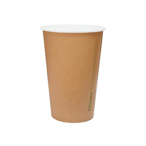 Coffee Cup (PLA) - SINGLE Wall - 16oz BROWN - BIOSERV