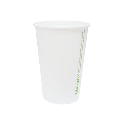 Cup (Hot & Cold Use ) - BIOSERV (PLA) - SINGLE Wall - 16oz WHITE