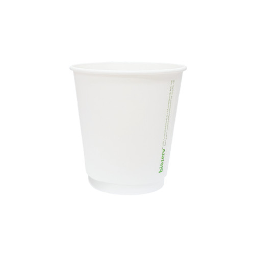 Coffee Cup - BIOSERV (Compostable PLA) - DOUBLE Wall - 8oz (SQUAT) - WHITE