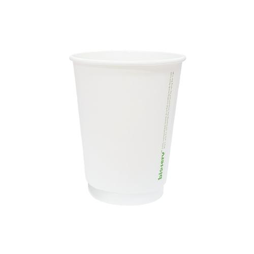 Coffee Cup - BIOSERV (Compostable PLA) - DOUBLE Wall - 12oz WHITE