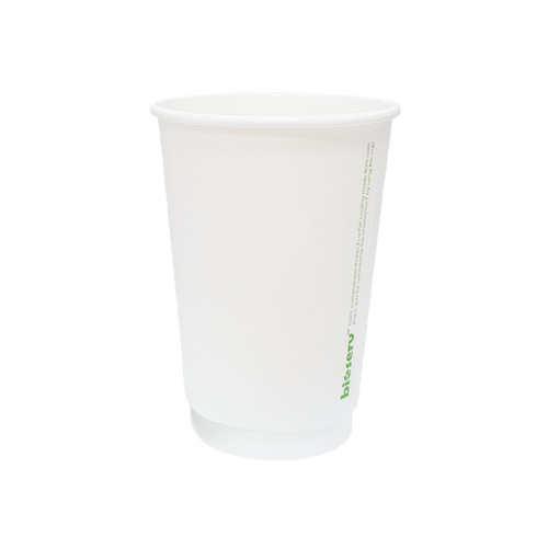 Coffee Cup - BIOSERV (Compostable PLA) - DOUBLE Wall - 16oz WHITE