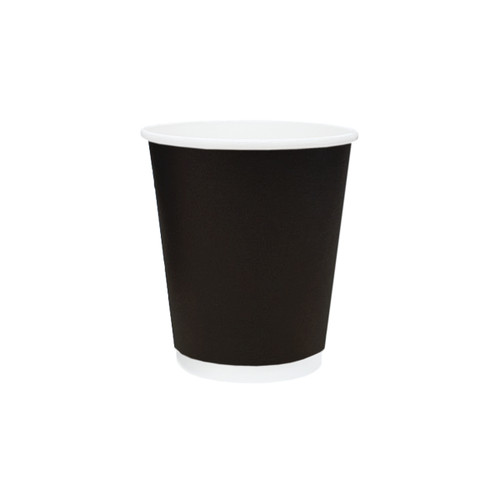 Coffee Cup (PE) - DOUBLE Wall - BLACK - 8oz (SQUAT) - ONETRAY