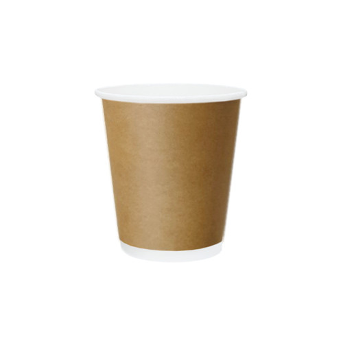 Coffee Cup (PE) - DOUBLE Wall - 8oz (SQUAT) BROWN - ONETRAY