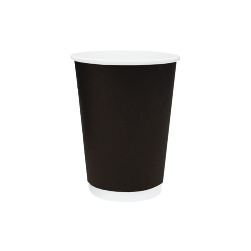 Coffee Cup (PE) - DOUBLE Wall - 12oz BLACK - ONETRAY