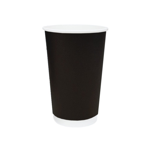 Coffee Cup (PE) - DOUBLE Wall - 16oz BLACK - ONETRAY