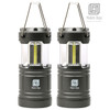 2 Pack LED Camping Lantern Battery Operated Portable Flashlights with Magnets | Collapsible Waterproof Shockproof COB LED Technology Emits 350 Lumens for Emergency Hurricane Outage (Silver)