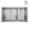 """Exclusive Heritage 31"""" x 18"""" Double Bowl 60/40 Undermount Stainless Steel Kitchen Sink with Strainer and Grid"""