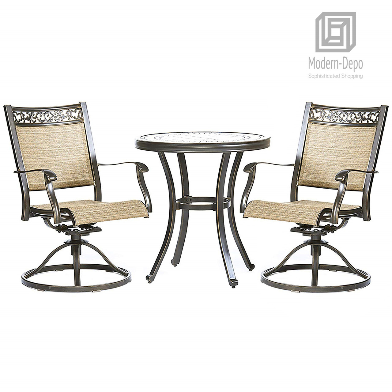 Pleasing 3 Piece Bistro Set Handmade Contemporary Round Table Swivel Rocker Chairs Garden Backyard Outdoor Patio Furniture Caraccident5 Cool Chair Designs And Ideas Caraccident5Info