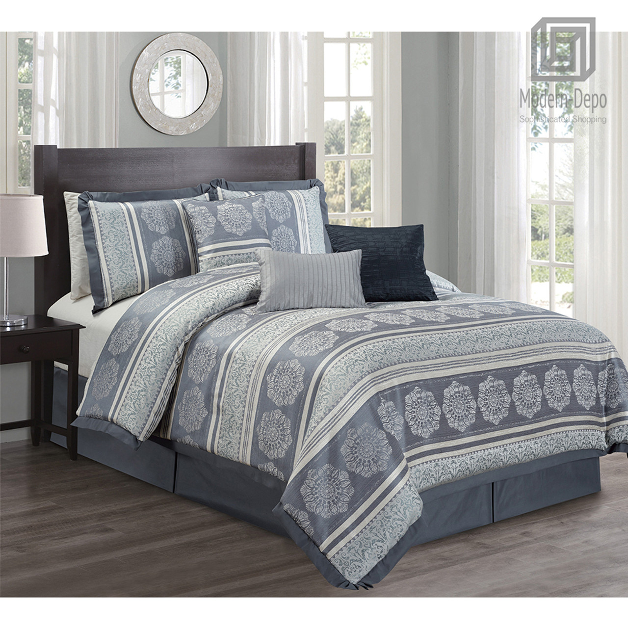 7 Piece Comforter Set King Size Microfiber Bed In A Bag Includes Comforter Bed Skirt Neckroll 2 Shams And 2 Pillows Modern Depo