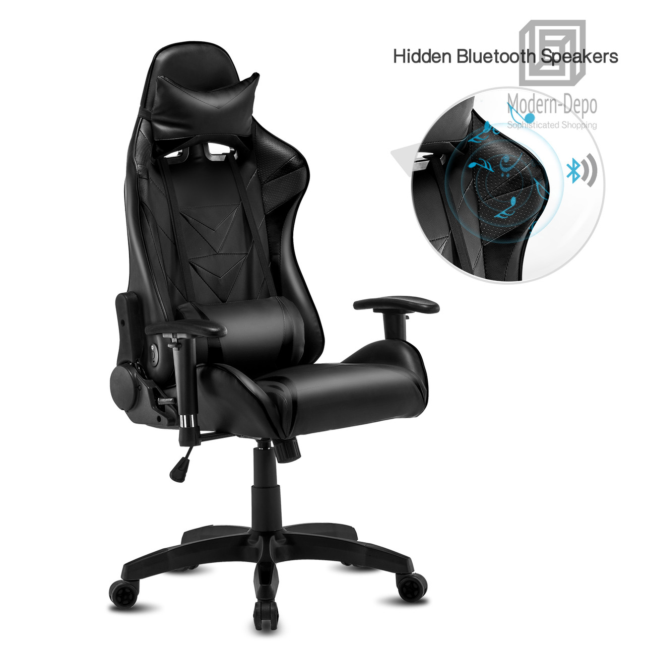 High Back Swivel Gaming Chair Recliner With Bluetooth 4 1 Version Speakers Lumbar Support Headrest Height Adjustable Ergonomic Office Desk Chair Black Modern Depo