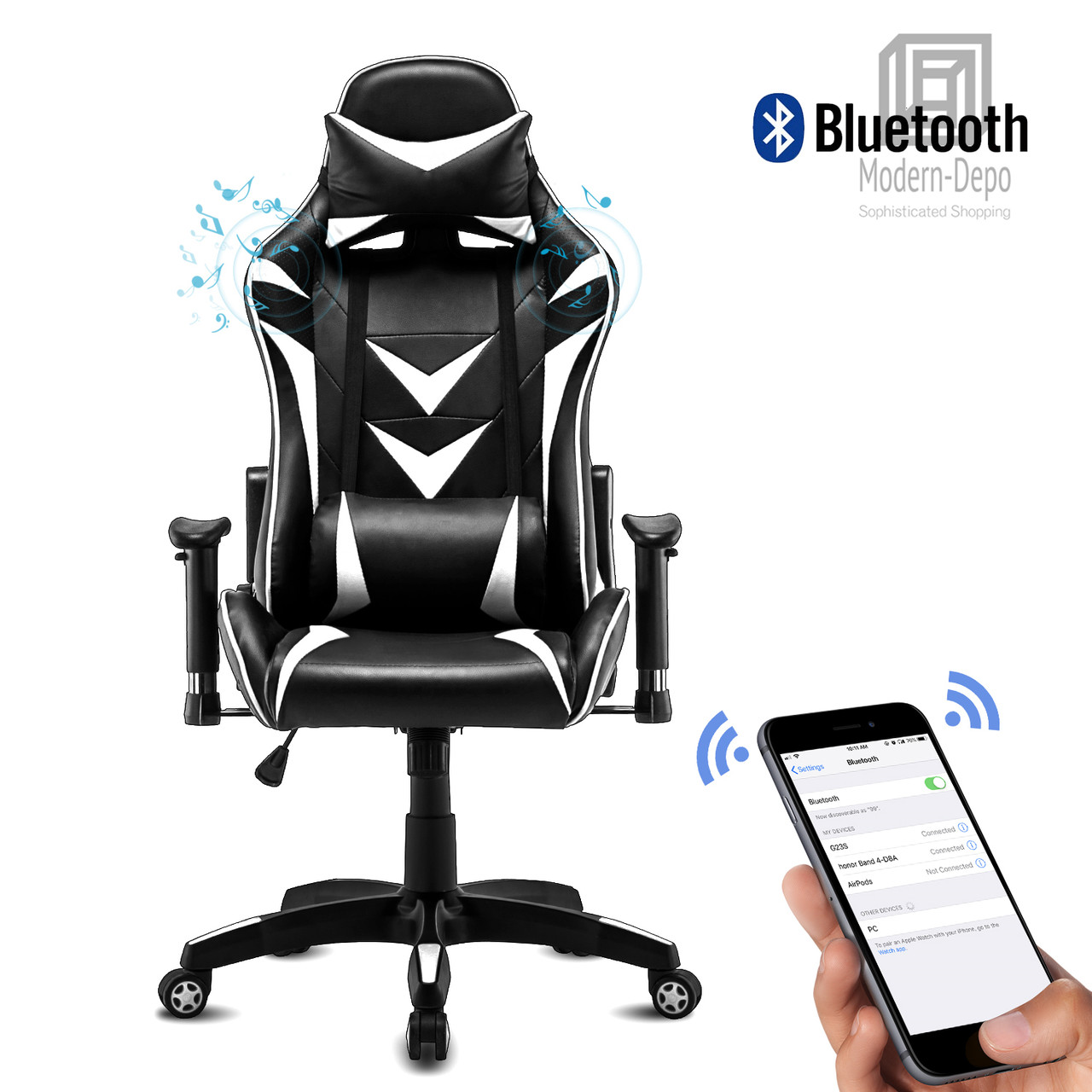 Height Adjustable Swivel Office Chair High-Back Recliner Modern-Depo Gaming Chair with Headrest and Lumbar Support White