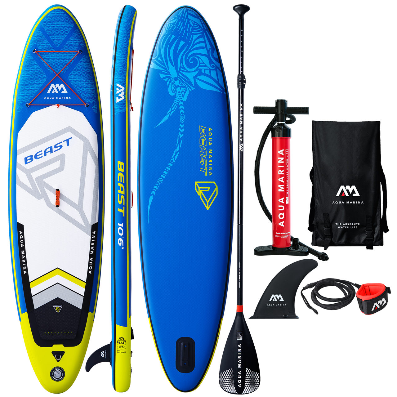 Safety Leash 6 Thick | Includes Double Action Pump Aqua Marina Beast Inflatable Stand Up Paddle Board 106 Sports III Paddle Slide-in Center Fin MAGIC Backpack