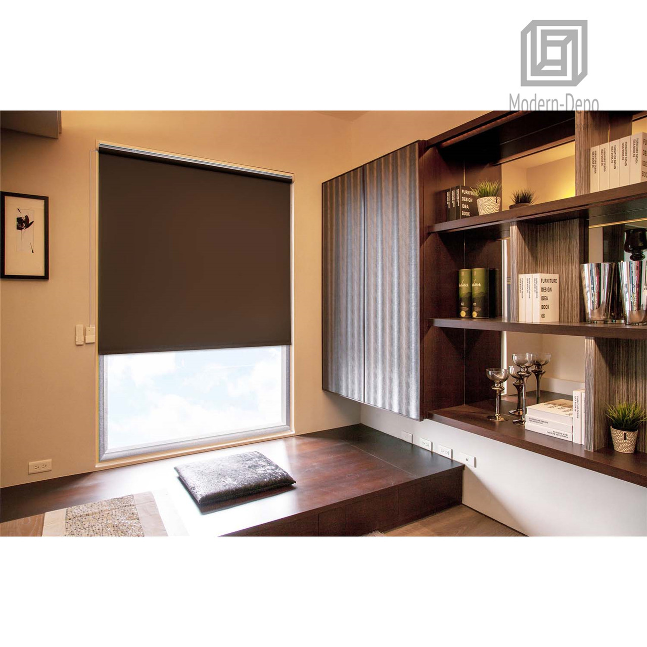 Cordless Roller Window Shades Motorized Remote Roller Blinds Sunscreen Blackout 31 W X 72 H Brown Modern Depo