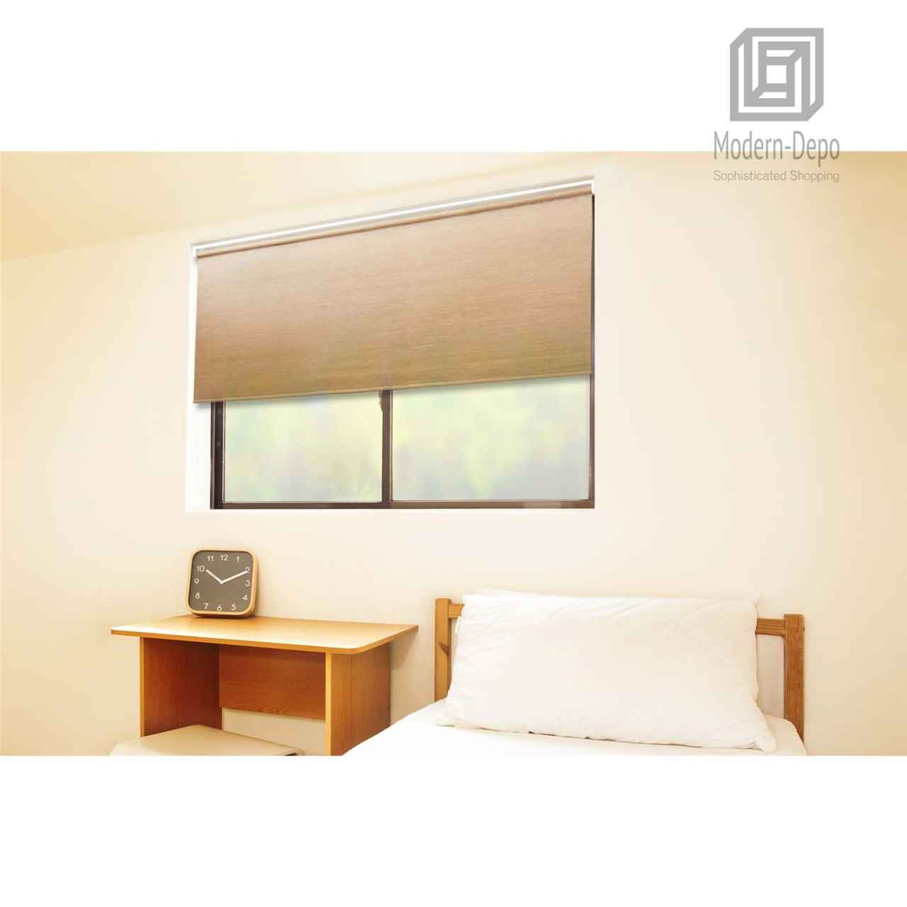 Cordless Roller Window Shades Motorized Remote Natural Woven 31 W X 72 H Wheat Modern Depo