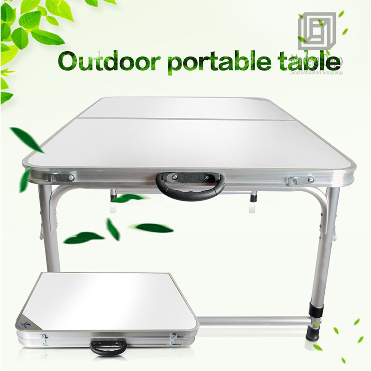 3ft Aluminum Folding Camping Table Height Adjustable Legs For