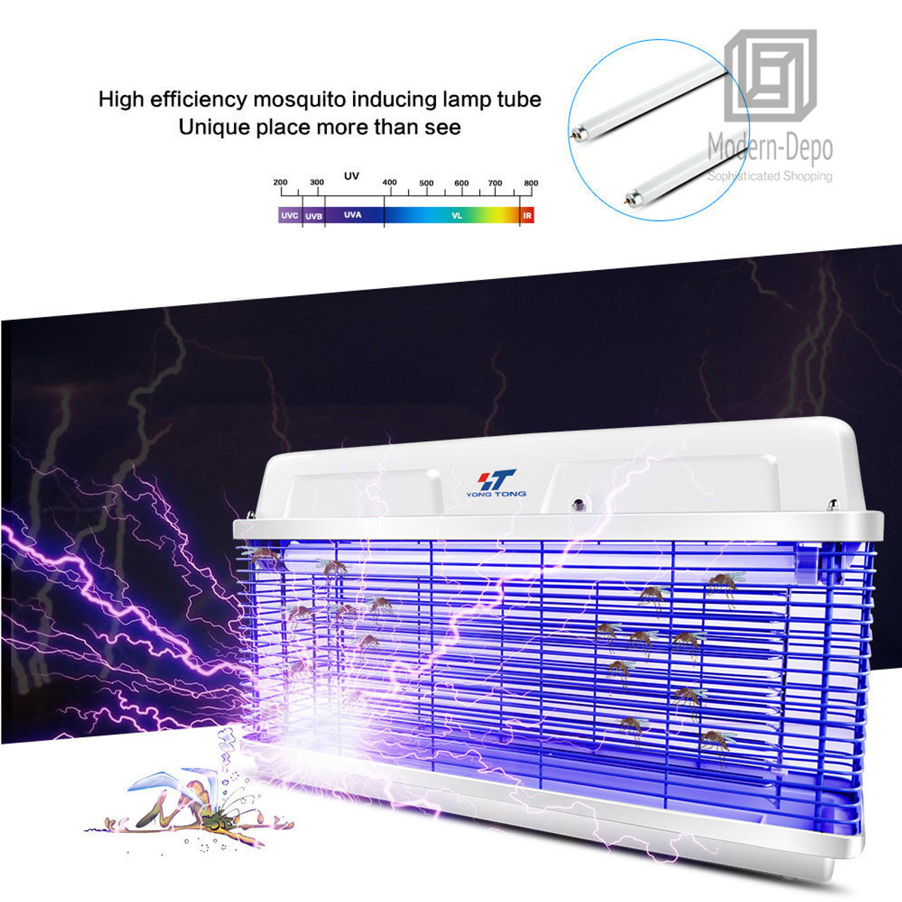 Waterproof Outdoor Bug Zapper | 20W Powerful UV Light Tube Electronic Fly  Pest Control Mosquito Insect Killer (16W & 30W Optional)