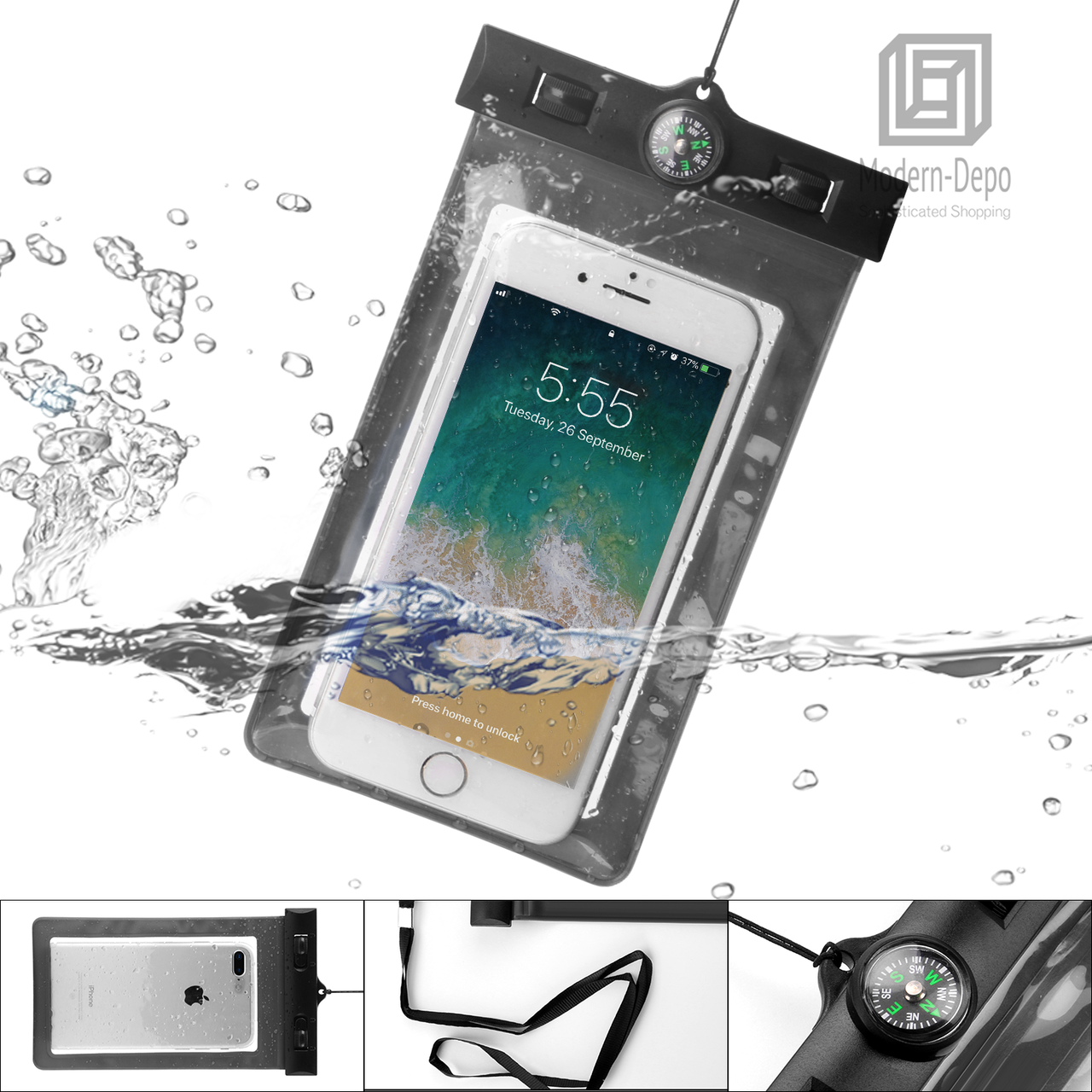 Universal Waterproof Case | Phone Case Anti-Water Pouch Dry Bag W/ Neck  Strap & Compass for iPhone X/8/8plus/7/7plus/6s/6/6s plus Samsung galaxy