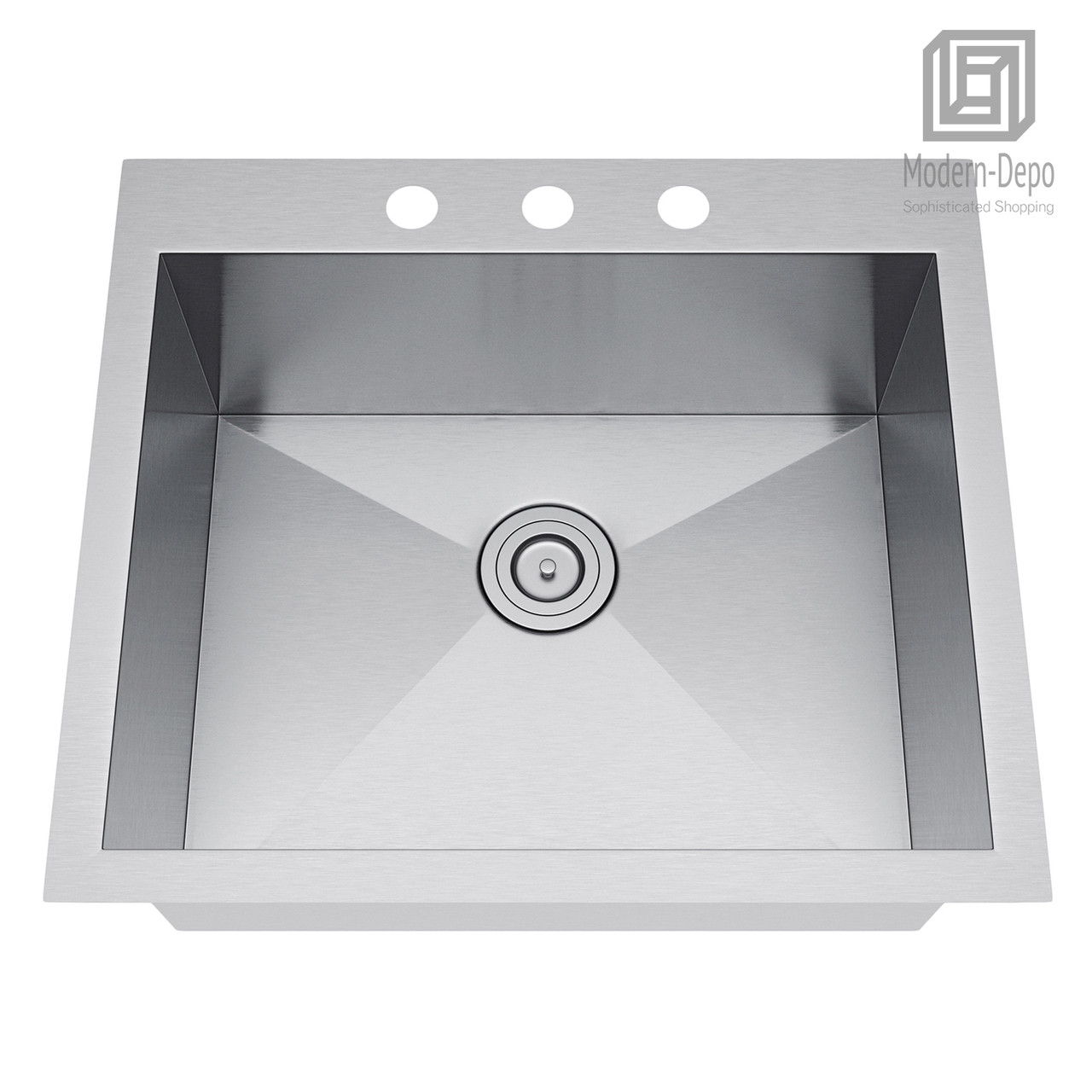 Exclusive heritage 25 x 22 single bowl topmount stainless steel kitchen sink with strainer